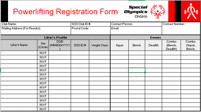Powerlifting Registration Form – Resource Library